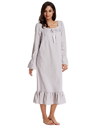 Zexxxy lingerie Plus Size Victorian Nightgowns For Women With Ruffled Bottom Nightshirt Gray (Victorian Plus Size)