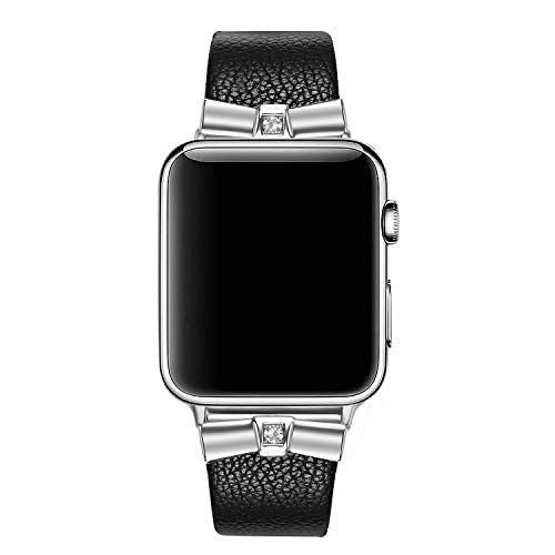 Secbolt Leather Bands Compatible Apple Watch Band 38mm 40mm iWatch Series 4, Series 3, Series 2, Series 1, Slim Replacement Wristband Strap Stainless Steel Buckle, Black (Spade Buckle)