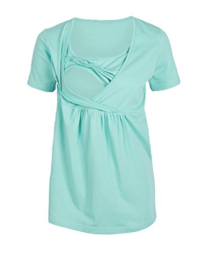 Casual Rotondo Moda Shirt Sciolto Collo Tinta Tumblr L'Allattamento Manica Estivo Corta Verde Bluse Unita Multifunzione Camicie per Tops T Donne Maglietta wq7SnxSBv