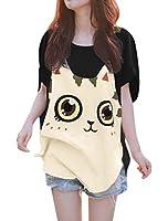 Allegra K Women Cat T Shirt Dolman Sleeve Loose Summer Tops