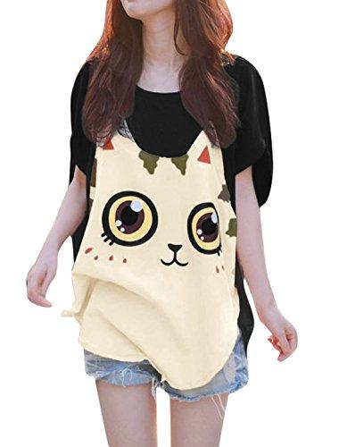 Allegra K Women Cat T Shirt Dolman Sleeve Loose Summer Tops M Black
