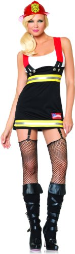 [Leg Avenue Women's Backdraft Babe Firefighter Costume, Black/White, Large] (Womens Tank Dress Wonder Woman Costumes)
