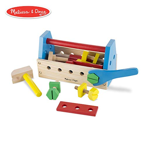 - Melissa & Doug Take-Along Tool Kit Wooden Toy, Pretend Play, Sturdy Wooden Construction, Promotes Multiple Development Skills, 9.9