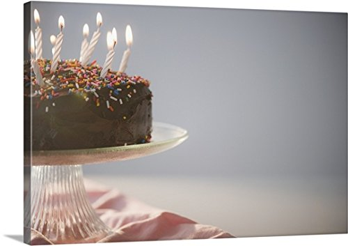 Great BIG Canvas Gallery-Wrapped Canvas entitled Chocolate birthday cake with candles by greatBIGcanvas
