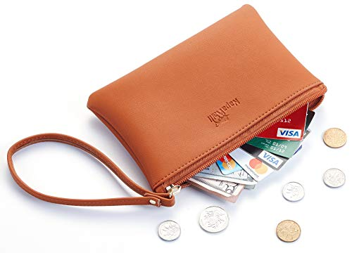 (NapaWalli Genuine Leather Cash Coin Purse Pouch Make up Cellphone Bag with Strap (Cutie Tan))