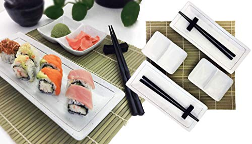 Sushi Dish Set |Beautiful Stoneware, 2 Serving Plates, 2 Condiment Dipping Trays (Divided) & 2 Pairs of Chopsticks| 6pc, Your Choice of Black or White set (White Dish Set)