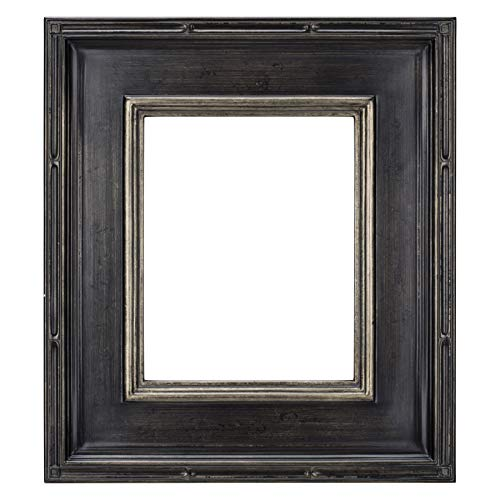 Creative Mark Museum Plein Aire Picture Frame Wooden Art Frame Museum Quality Closed Corner Ready Made 3.5 Inch Wide Frames - [Antique Black w/Silver Detail - 16x20] (Corner Silver Frame)