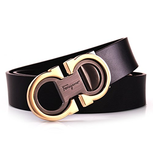 Royalours Mens Smooth Leather Belt 33mm Wide (31-33, Black Gold)