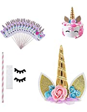 FineFun Gold Unicorn Birthday Cake Toppers set. Unicorn Horn Ears and flowers Set. Unicorn Party Decoration for baby showerÅ'wedding and birthday party