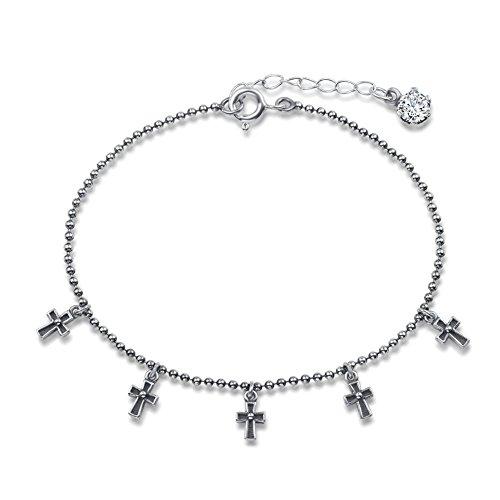 Agvana Sterling Silver Cubic Zirconia Oxidized Cross Balinese Vintage Bracelet - Balinese Bracelet Silver