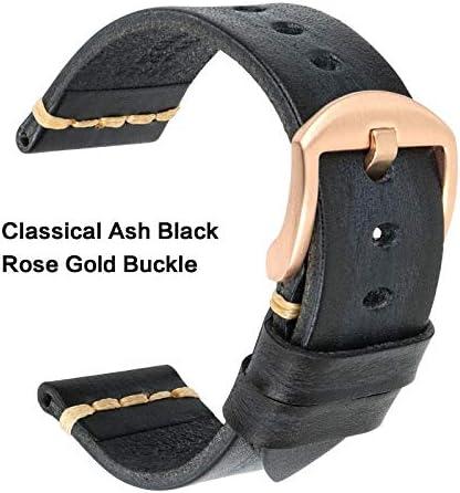 TGBZ ユニバーサル時計手作り時計バンド20ミリメートル21ミリメートル22ミリメートル23ミリメートル24ミリメートルレザー腕時計バンド (Band Color : AshBlack Rose Gold, Band Width : 23mm)