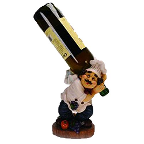 Fat Chef Over the Shoulder Wine Bottle Holder Counter Top Kitchen Décor (Chef And Wine Decor)