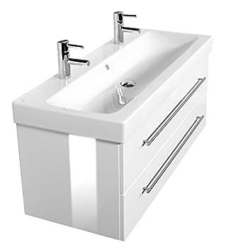 Emotion ICON120CM000101DE Waschbecken mit Unterschrank, Holz, weiß ... | {Waschbecken küche weiß 58}