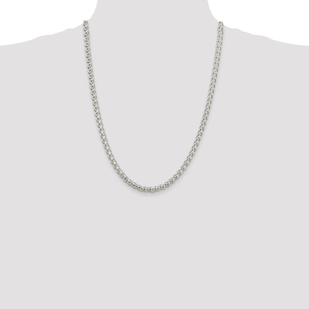 Wheat Sterling Silver 5mm Lobster Spiga Chain Necklace