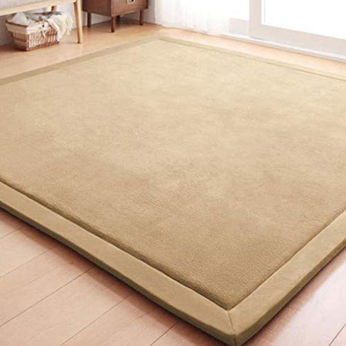 GIY Solid Rectangular Area Rugs Soft Living Room Carpets Coral Fleece Anti-Slip Children Bedroom Rug Home Decor Modern Indoor Outdoor Runners Nursery Rugs Khaki Camel 3