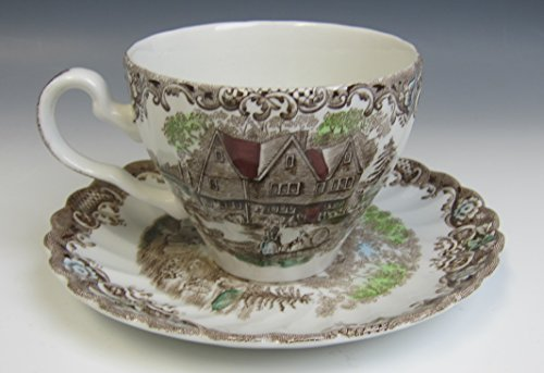 Johnson Brothers China HERITAGE HALL-BROWN MULTICOLOR Cup and Saucer -
