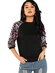 Women's Sequin Flare Sleeve Crew Neck Pullovers