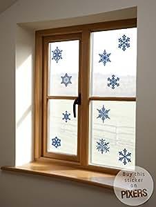 SNOW FLAKES Vinilos Decorativos Vidriera - Pegatinas Para Decorar Ventanas 120 x 120 cm | PIXERS