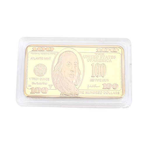 Xinzhi - Commemorative Coin 100 Dollars Bullion Bar Souvenir Coin Gold Modern Zinc Alloy Square Gift Movie ()