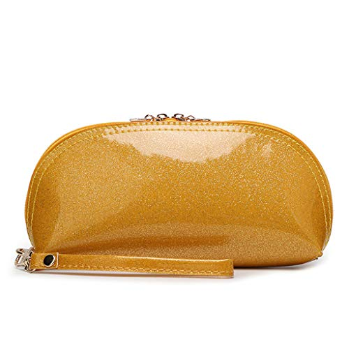Groomy Oro Viaggi Handbag Makeup Leather Cosmetic Zipper Organizer Case Bags Glitter Wristlet Bag Pouch rrwHdqAO