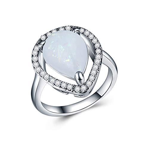 (Huitan Vintage Created Opal Rings Cocktail Party Rings for Women Men Size 6-10 (10, White-NA))