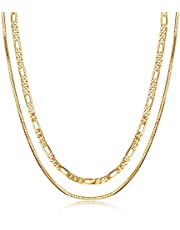 قلادة بطبقتين 18 قيراط مطلية بالذهب والفضة فيجارو سلسلة قلادة سلسلة الأفعى سلسلة رفيعة متعرجة للنساء / الرجال