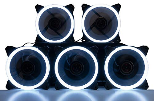 CUK 5-Pack White Halo Ring 120mm LED Vibrant Color Computer Case Fan for CPU Coolers and Radiators - High Airflow 45 CFM & Anti-Vibration Pads