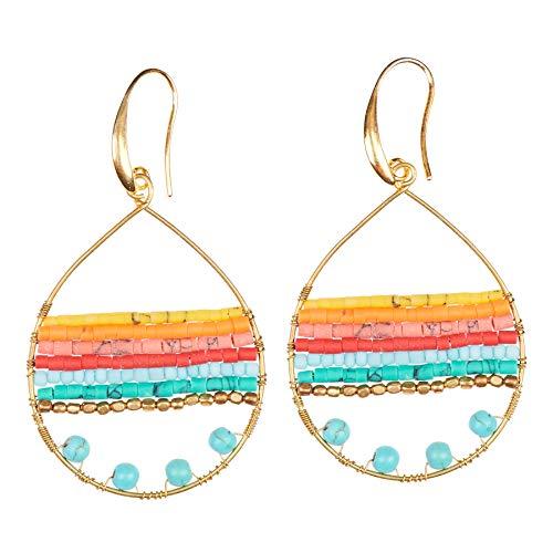 Boho Teardrop Dangle earrings. Turquoise Jewelry for Women. Handmade Bohemian Jewelry by Akitai