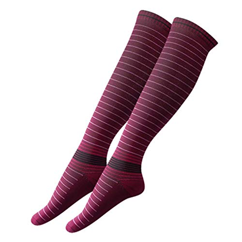 Men Elastic Compression Long Socks Warm Breathable Anti Slip Protection Ankle Casual Socks,Wine red,M
