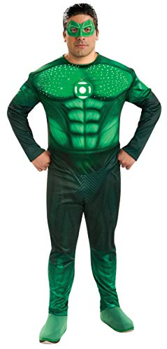 Green Lantern Deluxe Full Figure Hal Jordan Plus size Costume With Light Up Muscle Chest, Green, One Size -
