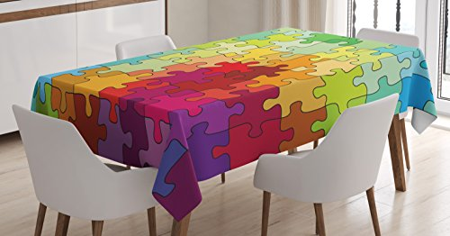Abstract Tablecloth by Ambesonne, Colorful Puzzle Pieces Fractal Children Hobby Activity Leisure Toys Cartoon Image, Dining Room Kitchen Rectangular Table Cover, 60 X 84 Inches, Multicolor