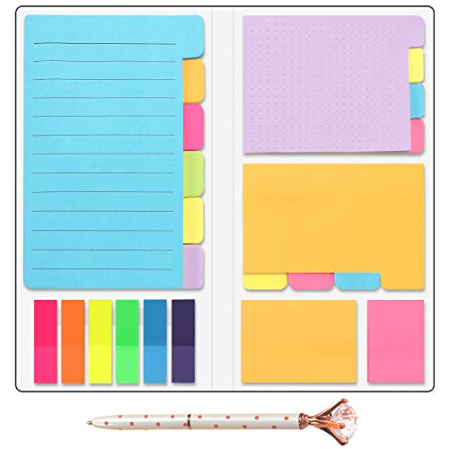 Sticky Notes Divider Colored Page Markers Bundle Set, Tabbed Self-Stick Lined Note Bookmark Prioritize with Color Coding - 406 Pcs Include One Big Diamond Rose Gold Pen