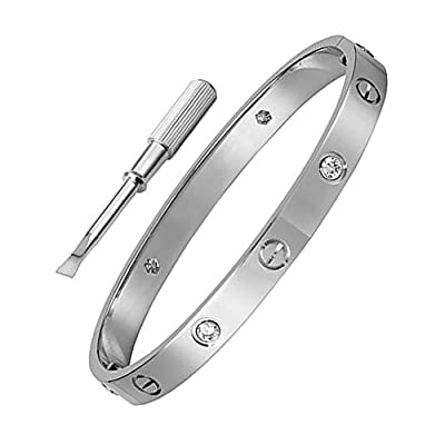 Stainless Steel Silver Inspired CZ Crystal Screw Head Oval Bangle Bracelet with Stone for Women & Men