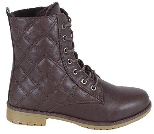 chestilla–einfarbige Mujer Desert Boots con patrón acolchado costuras Botines cordones botas 363738, 39, 40, 41 marrón