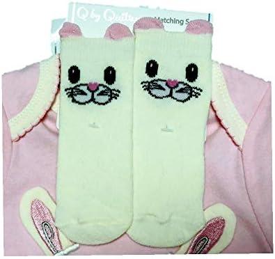 Quiltex Girls Toddler Bunny Cute 3 Pc Sock Set
