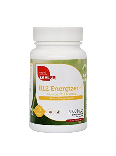 Zahler B12 Energizer, Potent Energy Booster, Vitamin B12 Methylcobalamin, Certified Kosher, 5000 MCG, 120 Natural Cherry Flavor Lozenges