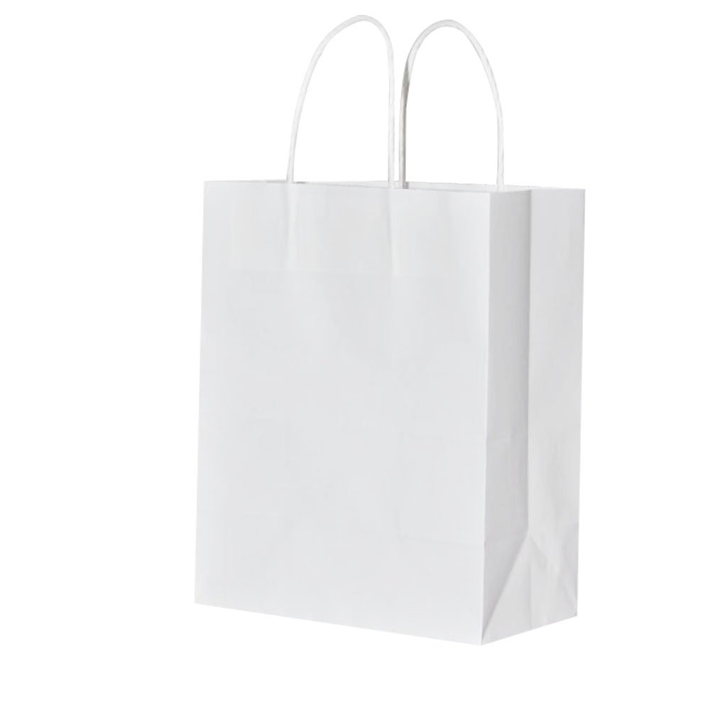 5.25 X 3.25 X 8インチホワイトクラフト紙バッグハンドル付き、bagmad Small Shopping自然パーティー厚い紙小売クラフトバッグ、25個Count B07CR731BS