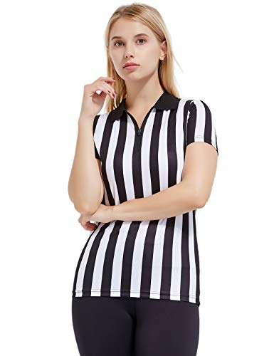 FitsT4 Women's Black & White Stripe Referee Shirt,Zipper Referee Jersey Short Sleeve Ref Tee Shirt for Refs, Waitresses & Costume -