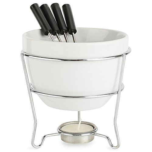 - Elegant Chocolate Fondue Bowl Set with 4 Dipping Forks & Tea Light Holder – For the Perfect Melted, Chocolate & Cheese Serving – Even Heat Distribution - Dishwasher, Microwave and Oven Safe 6 oz.