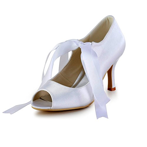 Minitoo Minitoo-AYL419 Womens Stiletto High Mary Jane Satin Evening Party Bridal Wedding Sandals Shoes Ivory-9cm Heel LEr5c9yrN