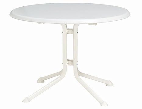 Kettler Gartentisch rund 100cm, Aluminiumgestell weiß, Kettalux-Plus-Platte