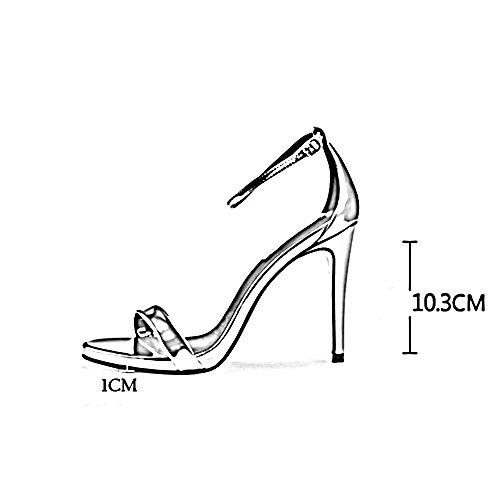 Feifei Mujeres Sandalias De Verano Abiertos Tapa De Las Correas De Tobillo De Tacón Alto Zapatos Romanos De 10 Cm (de Color: Una, Tamaño: Eu37 / Uk4.5-5 / Cn37) B