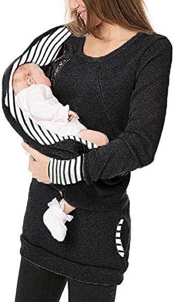 STRIR Lactancia premamá Enfermeria Manga Larga Sudadera Jumper Tops, Camisetas Maternidad Mujeres De EnfermeríA Mangas Largas Casual Top Ropa De Lactancia: Amazon.es: Ropa y accesorios