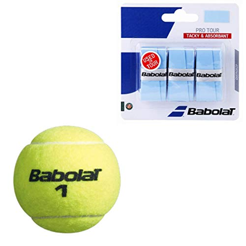 Babolat Can of 3 Championship Tennis Balls Starter Kit or Set Bundled with Babolat SG Spiraltek Yellow Tennis String 16G and Pro Tour Overgrips in Blue (Great Stocking ()