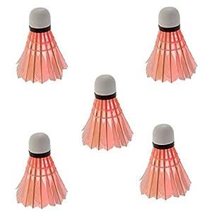 Pixnor 5 Stücle LED Badminton Federball Licht Beleuchtung für Nacht Sport (Rot)