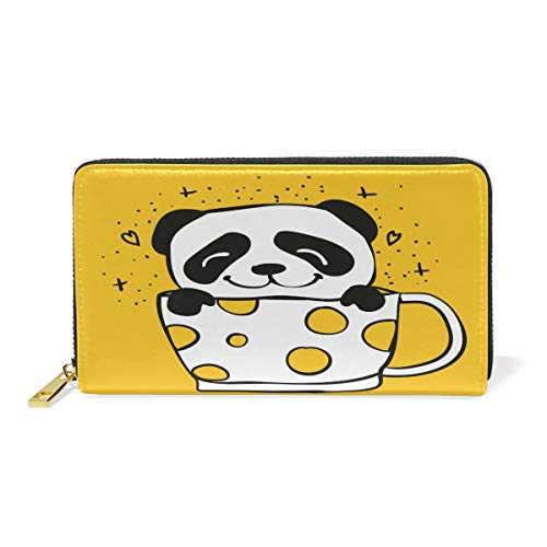 Panda Tea Cup Purse Genuine Clutch Wallets Zip Long Leather Handbags ()