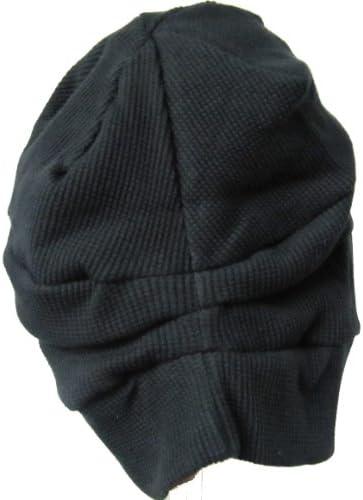 室内帽子 オーガニックコットンワッフル段々ワッチ ブラック サイン NOC認定商品