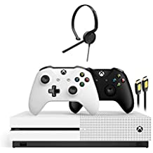 Microsoft Xbox One S 1TB HDD with Two Wireless Controllers Black and White (Previous Model), 1-Month Game Pass Trial, 14-Day Xbox Live Gold, Xbox One Chat Headset and HDMI