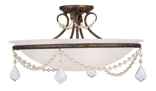 Livex Lighting 6525-71 Chesterfield/Pennington 3 Light Ceiling Mount, Hand Applied Venetian Golden Bronze (Chesterfield Finish Bronze)