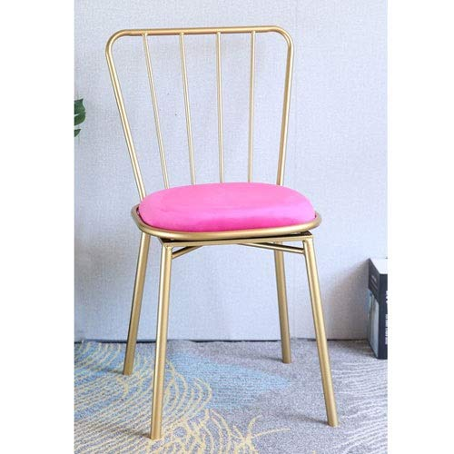 pink red Boosc Nordic Wrought Iron Bar Stool Chair Modern Minimalist Dining Cafe Fashion Creative Back Home Restaurant (color   pink red)